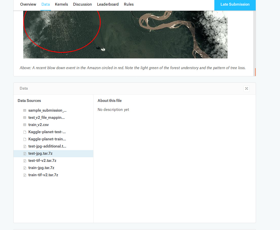 How to download data for Lesson 2 from Kaggle for Planet Competition