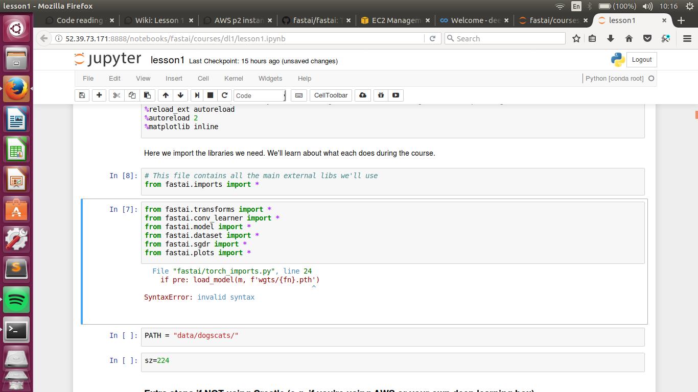AWS p2 instance setup - Error Lesson 1 - ModuleNotFoundError