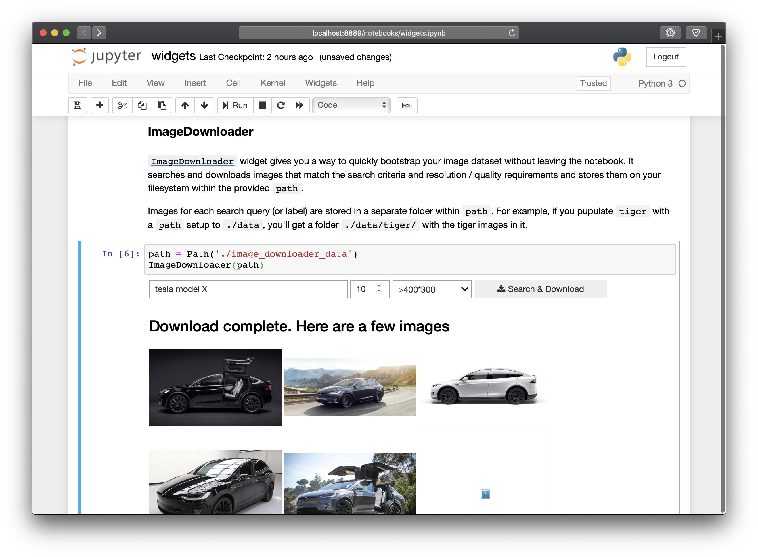 ImageDownloader widget - fastai dev - Deep Learning Course