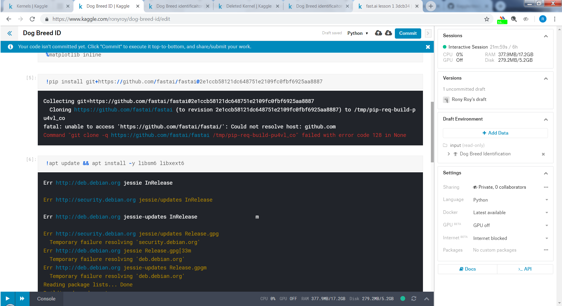 Fastai 1 0 6 not working in kaggle - Part 1 (2018) - Deep