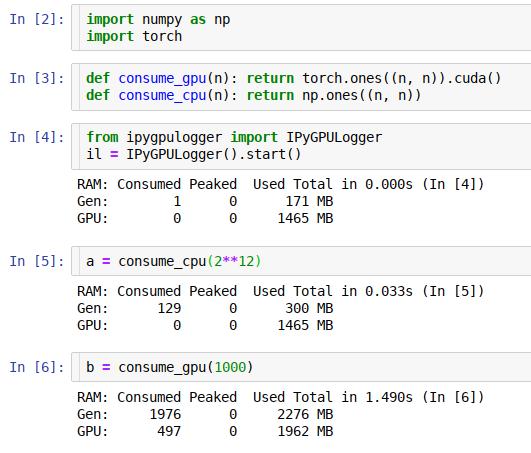 IPyGPULogger: GPU Logger for jupyter/ipython memory usage