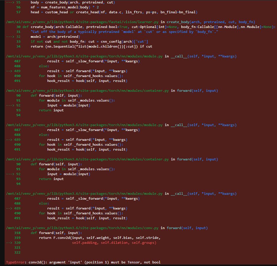 Solved] Error while creating learner for senet : TypeError