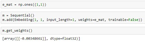 Keras weights parameter in Embedding layer not working